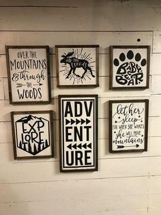 Beautiful set of painted wood signs for a rustic nursery! These would look great for my baby boy's nursery. Woodland Nursery Decor, Rustic Nursery, Rustic Baby, Baby Boys, Baby Boy Rooms, Baby Boy Nurseries, Hunting Nursery, Adventure Nursery, Painted Wood Signs