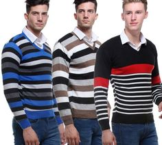 VSI – Combo Of Striped V-Neck Sweaters For Men-Ln117 At Rs 699