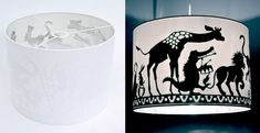 Silhouette Animal Parade lampshade by Geertje Aalders.  Brilliant.  Jan Pienkowski or Arthur Rackham's art would be fantastic for this.  May have to DO this!
