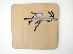 Laser cut wood coasters Branch with bird and squirrel by indomina, $20.00