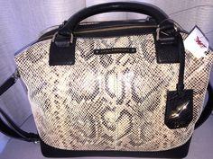 NEW Diane Von Furstenberg Drew EW Satchel EB Snake Leather Handbag DVF