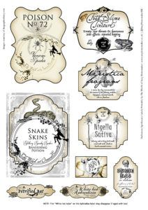 9 FREE Halloween Apothecary Labels for your Halloween decorations.