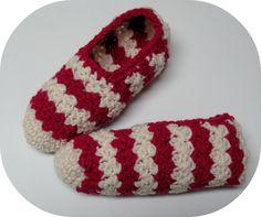 Pantoufles au crochet point Suzette