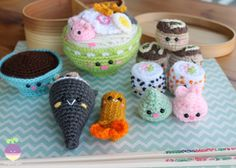 Amigurumi Food: Bento Family II Amigurumi Food Crochet Pattern  #crochetfood #amigurumifood