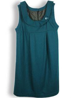 blue-green sleeveless turn-down neck woolen dress
