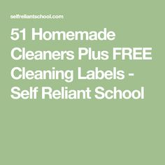 51 Homemade Cleaners Plus FREE Cleaning Labels - Self Reliant School