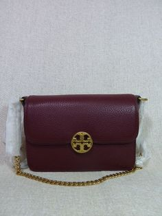 Tory Burch Color Block Perry Wallet Crossbody Clutch Light Oak Samba Pebbled