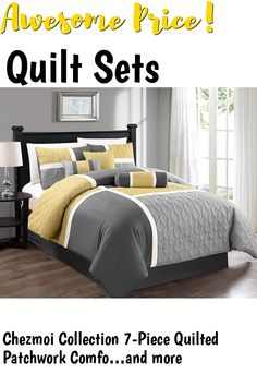 Chezmoi Collection 7-Piece Quilted Patchwork Comforter Set, Yellow/Gray, King #quiltsets Quilt Sets, Quilts, Bed, Furniture, Collection, Home Decor, Scrappy Quilts, Decoration Home, Room Decor
