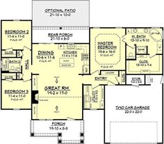 Love this simple floor plan. House plan# 142-1067