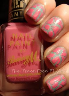 Barry M Nail Effects crackle - Pink Fizz (over BarryM-Mint Green) / TheTraceFacePhiles