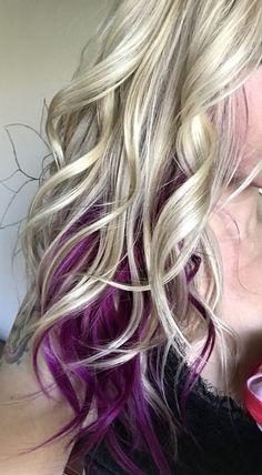 Fuschia peekaboo hair. Blonde hair. Purple hair. Deep pink hair. ©Hair by April Devers.