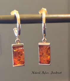 Amber Earrings Dangle Organic Natural Modern Free Us Ship