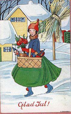 I just love the Swedish Christmas cards! Vintage Thanksgiving, Vintage Christmas Images, Vintage Holiday, Christmas Pictures, Swedish Christmas, Noel Christmas, Scandinavian Christmas, All Things Christmas, Xmas