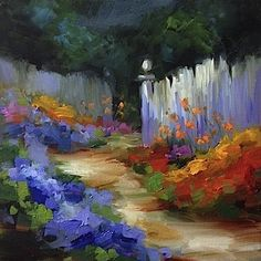 Blue Dreams Garden Path - Hydrangeas and Flower Paintings by Nancy Medina, painting by artist Nancy Medina