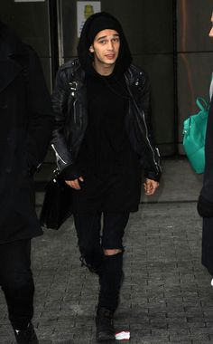Matty Healy All black hoody and leather jacket