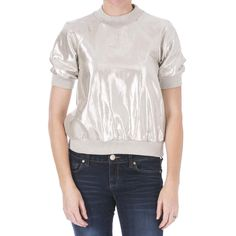 Cynthia Rowley Womens Linen Metallic Sweatshirt