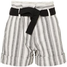 Vanessa Bruno Ezed belted striped cotton-canvas shorts ($185) ❤ liked on Polyvore featuring shorts, white, white braided belt, belted shorts, white woven belt, white frayed shorts and print shorts