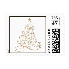 Gold Metallic Filigree Christmas Tree Postage Stamp