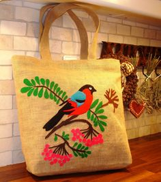 Handmade Jute Tote bag ,OOAK /market bag,hand cut applique, unique artful piece/bird on cherry tree