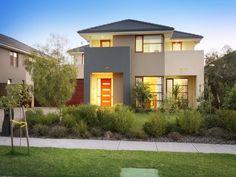 Concrete modern house exterior with balcony & ground lighting - House Facade photo 280157