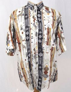 Gitman Bros Vintage Shirt XXL Hawaiian Safari Argyle Native Abstract 100% Cotton #GITMANBROS #ButtonFront