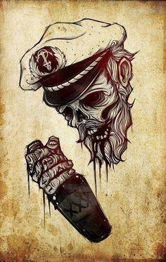 Drunk dead marineer captain tattoo. Tatouage de marin littéralement ivre mort.