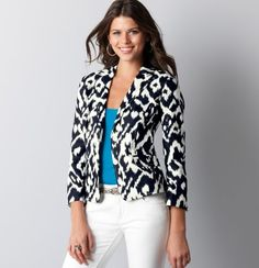 Mix and Match with Dresses and Suits - Embellished Ikat Print Blazer