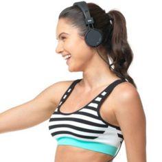 Lupo Bra: Raia Striped Seamless Medium-Impact Sports Bra 71426 - Women's
