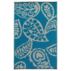 Fab Habitat Outdoor Rug (4' x 6') - Paisley River Blue/White