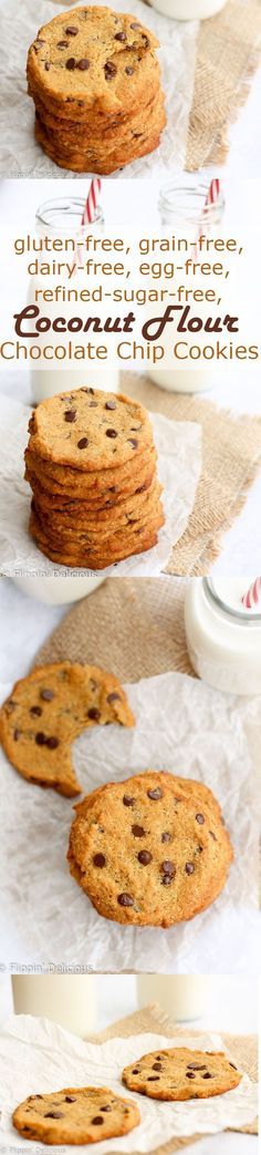 Coconut flour cookies are for just about anyone to eat - they are gluten-free dairy-free grain-free refined sugar-free and egg-free. Super chewy and studded with chocolate chips they go perfect with a glass of milk. Coconut Flour Cookies, Coconut Flour Recipes, No Flour Cookies, Gluten Free Cookies, Gluten Free Desserts, Dairy Free Recipes, Vegan Desserts, Almond Flour, Chip Cookies