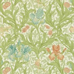 The Original Morris & Co - Arts and crafts, fabrics and wallpaper designs by William Morris & Company | Products | British/UK Fabrics and Wallpapers | Iris (DMCW210439) | Morris Wallpaper Compendium II