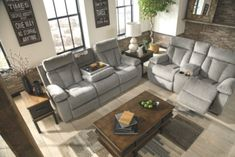 Mitchiner Reclining Sofa with Drop Down Table Fog - June 01 2019 at Living Room Remodel, Living Room Sofa, Interior Design Living Room, Living Room Furniture, Living Room Designs, Living Room Decor, Sofas Relax, Drop Down Table, Console