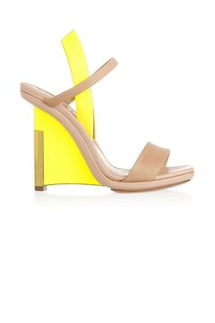 Reed Krakoff leather wedge sandal.  The season's electrifying tones are sure to put a spring in your step.