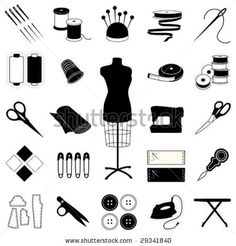 vector - Sewing & Tailoring Icons for clothes, dressmaking, needlework, quilting, darning, textile arts, crafts & do it yourself projects. EPS8 organized in groups for easy editing. - stock vector