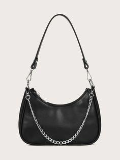 Chain Shoulder Bag, Baguette, Fashion Bags, Pu Leather, Minimalist, Rebecca Minkoff, Pattern, Composition, Color Black