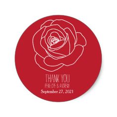 Modern, Hand-drawn Rose, Thank You Stickers