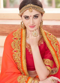 Buy Faux Georgette Hot Pink and Orange Embroidered Work Shaded Saree Online : UK - Party Wear Sarees Online, Saree Draping Styles, Bengali Bride, Indian Bridal Wear, Pink Parties, Most Beautiful Indian Actress, Beauty Full Girl, Saree Collection, Indian Girls