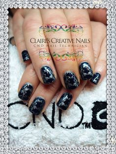 CND Shellac Midnight Swim with Silver Moyou Stamping. By Claire's Creative Nails, Northampton. Call or text: 07752 397245 to book your appointment. #shellac #northampton #NailSalon #MoyouStamping #NailArt #NailTechnician #cnd