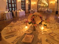 """Very classic décor using low arrangements in Mercury glass with Hydrangeas and Roses. Hotel""""s tablecloth was used and we add a lace table runner. Décor by Anabelle Barranco, STEM Events"""