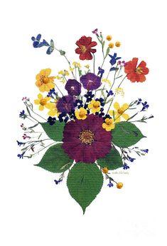 Enchanted Garden Big Bouquet Mixed Media  - Enchanted Garden Big Bouquet Fine Art Print