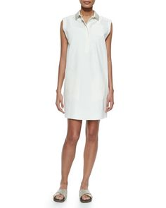 Sleeveless Glitter-Collar Shirtdress, White by Brunello Cucinelli at Neiman Marcus.
