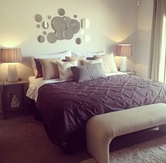 spare bedroom - color scheme: purple/gray + tan... Like this but maybe a brighter purple