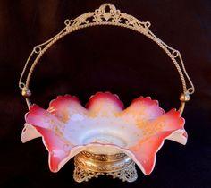 Antique Wilcox Silverplate Co. Meriden CT. Brides Basket Peach Blow Glass #WilcoxSilverplateCoMeridenCt