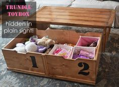 Somebody teach me to woodwork, please? DIY Furniture Plan from Ana-White.com  How to build a coffee table that hides a toy box! Clean up your living room in seconds with this clever coffee table with toy box trundle.