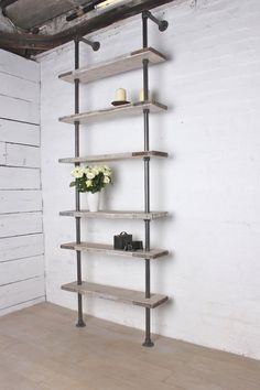 Reclaimed White-washed Scaffolding Boards and Dark Steel Pipe Shelving/Bookcase - Urban Storage, Bespoke Industrial Shelving System