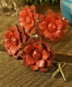 Look what I found on #zulily! Red Resin Flower Drawer Knob – Set of Four #zulilyfinds