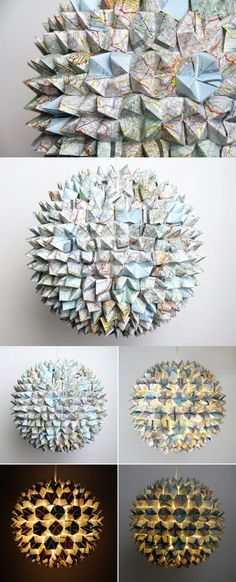 lampara origami papel 3 mapas DIY ingenioso