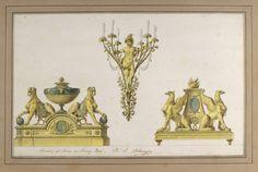 Drawing: Design for Two Andirons and a Sconce of Gilt Bronze for the Pavilion de Bagatelle, Paris, 1777, artist: Jean Démosthène Dugourc.