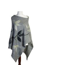 Gray  poncho, women poncho, knit poncho, knit shawl, knit cape, knit scarf, felted appliques, felted poncho, knit capelet,  Modern Clothing. $110.00, via Etsy.