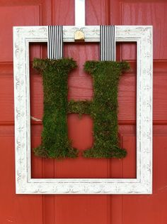 Spring Moss Monogram and Frame to hang in front of a door